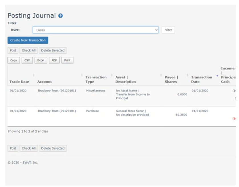 Trust Accountant Cloud posting journal