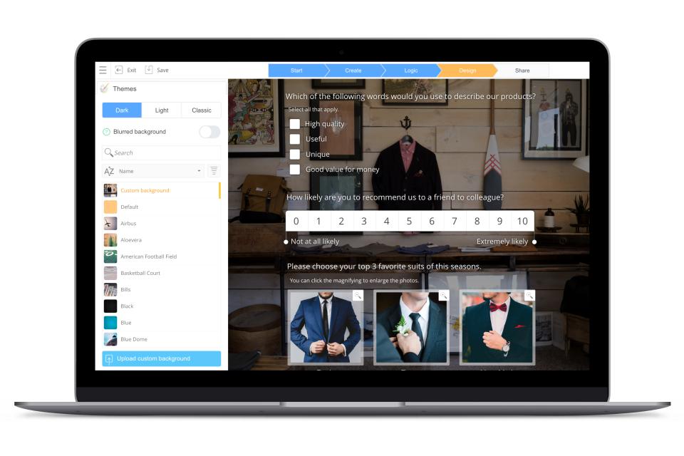 SurveyLegend screenshot: Design & brand surveys