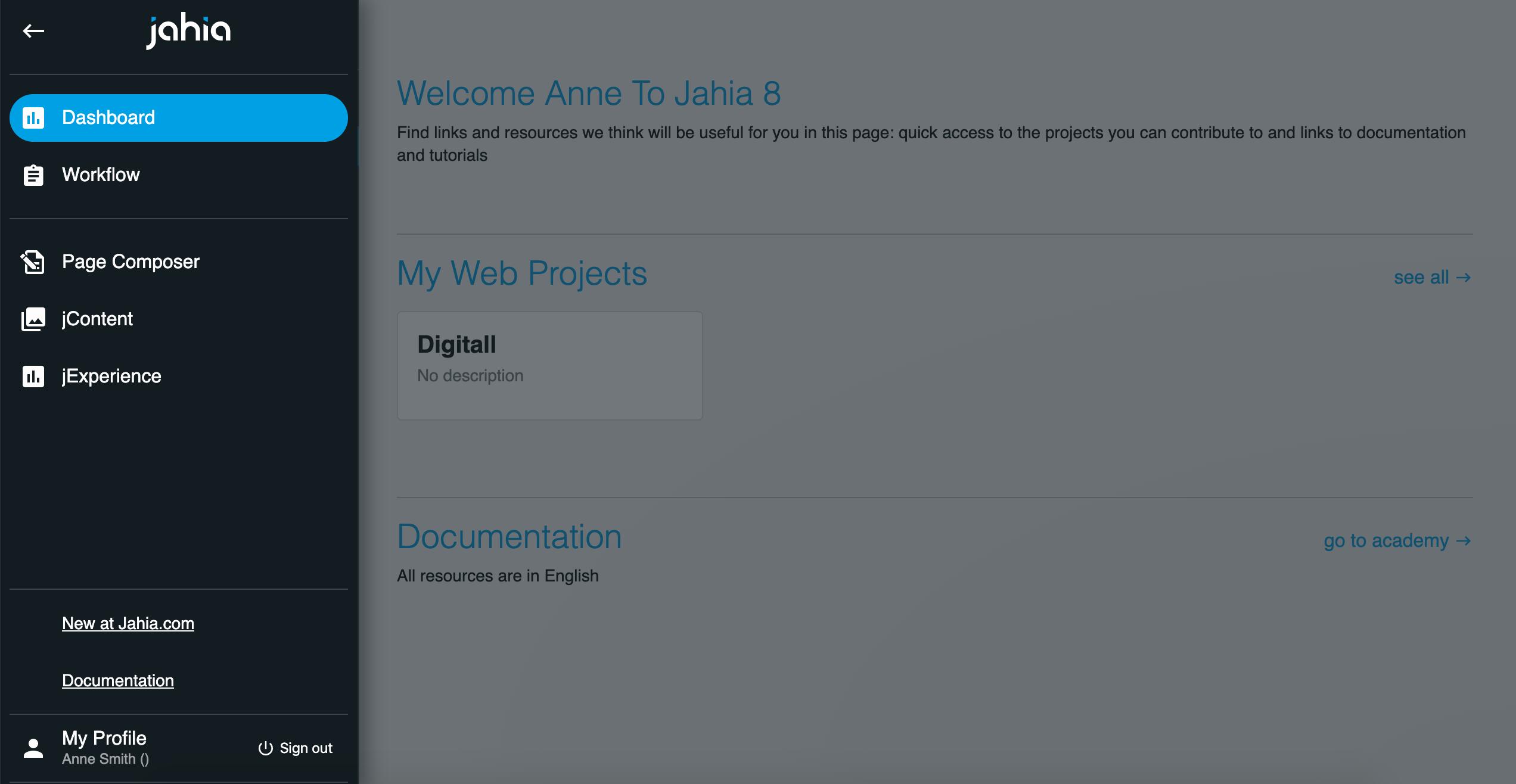 Jahia DXP dashboard