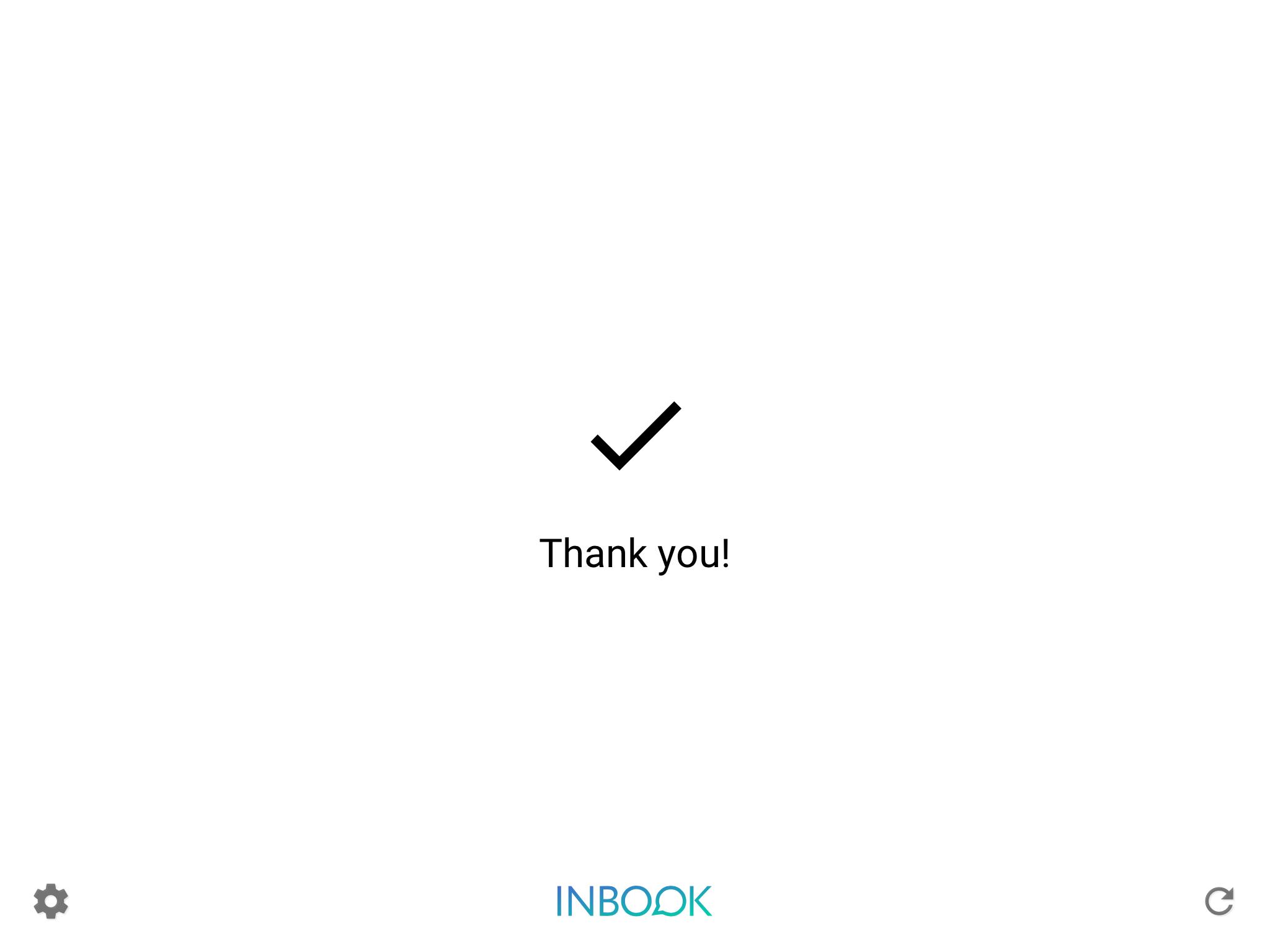 INBOOK Software - Sample survey completion screen