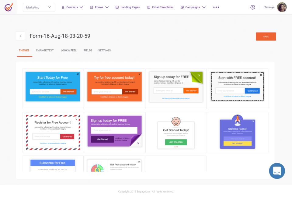 EngageBay forms screenshot
