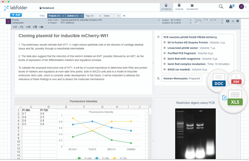 Labfolder screenshot: labfolder data entry and integration screenshot