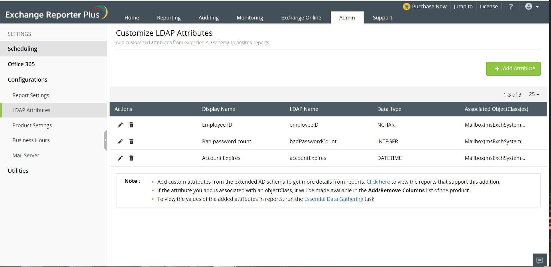 Exchange Reporter P LDAP attributes screenshot