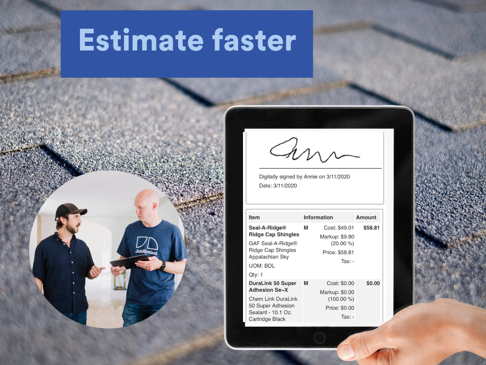 Estimate faster with JobNimbus, and be more professional