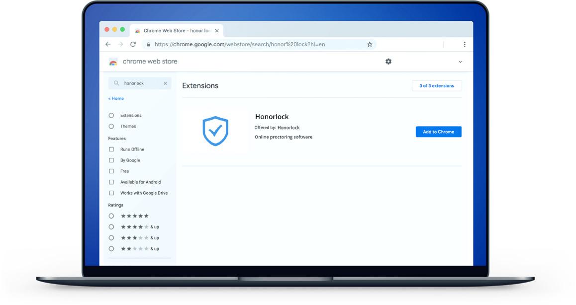 Honorlock Google Chrome extension