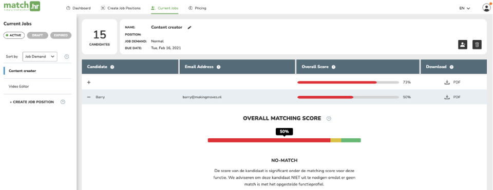 Dashboard report candidates