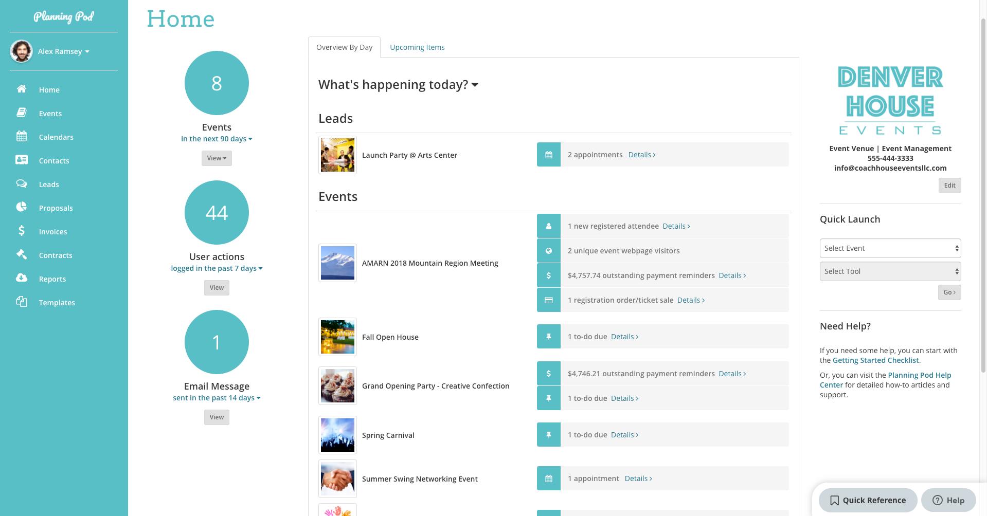 Planning Pod Software - Planning Pod dashboard