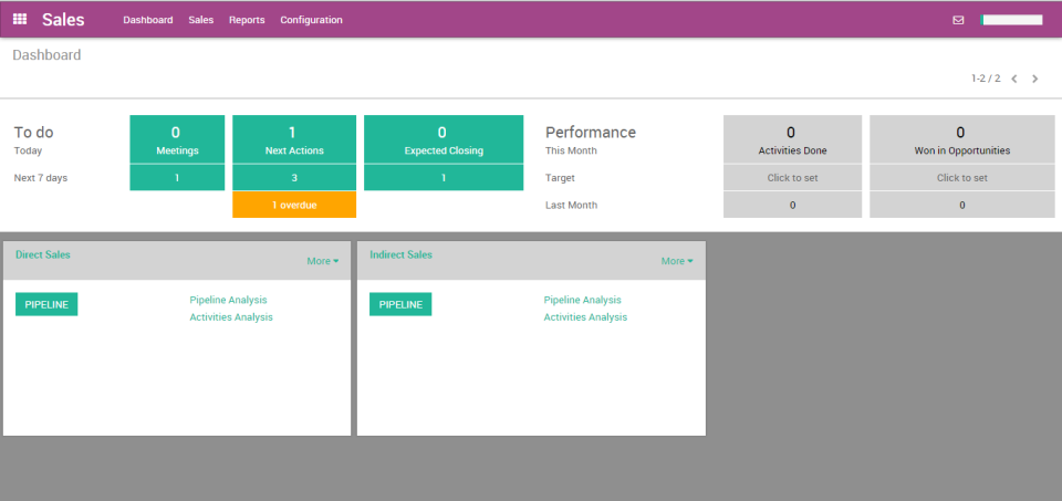Odoo sales dashboard