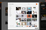 isEazy screenshot: Users can search and select images to personalize with filters, blurs, framing, adjustment tools, and more
