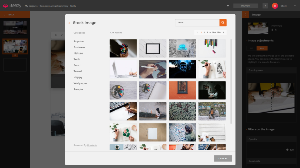Users can search and select images to personalize with filters, blurs, framing, adjustment tools, and more