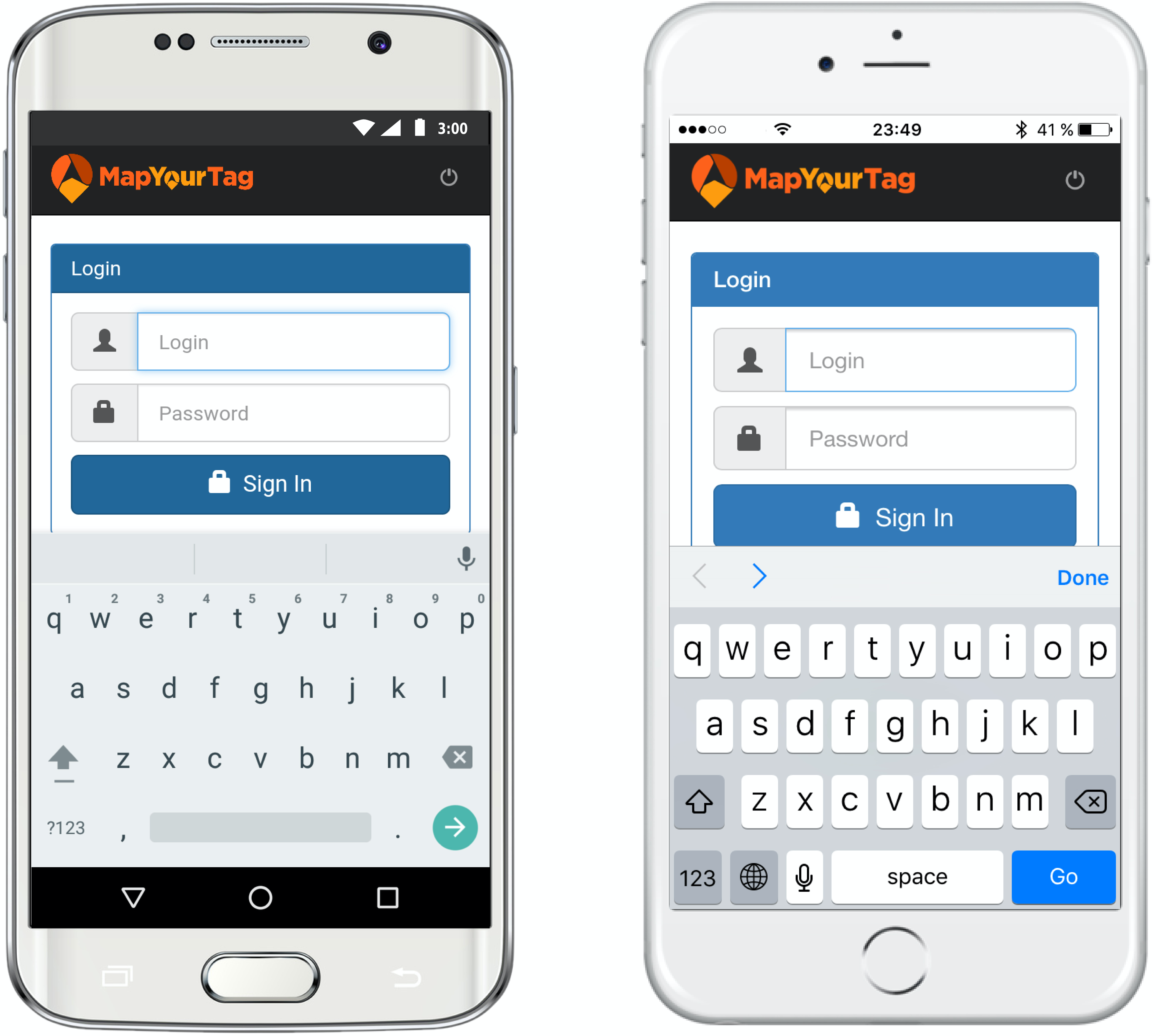 iPhone & Android App - Log in page