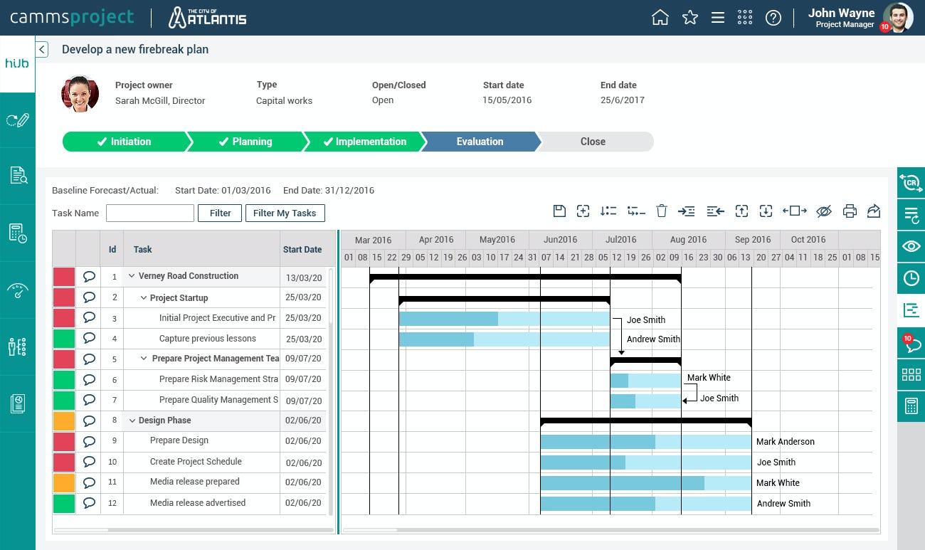 Camms.Project Software - Task calendar