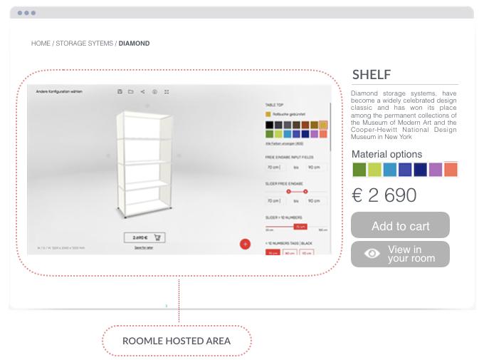 Roomle online shop integration screenshot