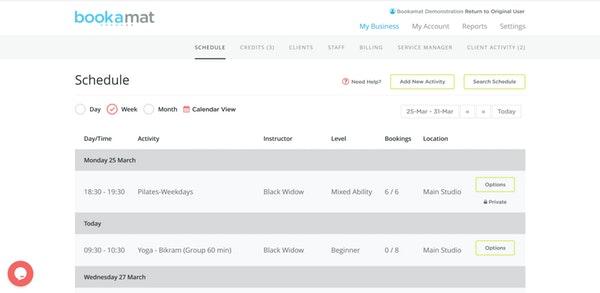 Bookamat weekly schedules screenshot