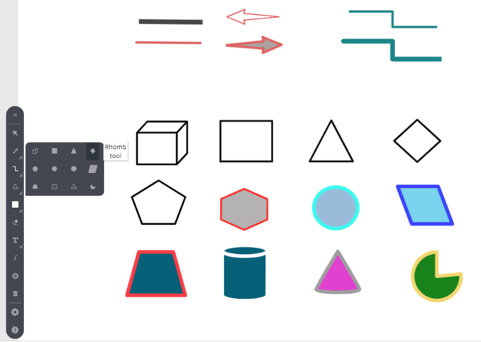 Powerful line tools and advanced shapes such as triangle, rhombus, pentagon, hexagon, cylinder, cube, cone and other shapes in the whiteboard makes it easy to deliver any type of creative and educational training online.