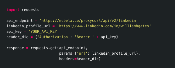 Proxycurl's API uses bearer tokens to authenticate users. Each user is assigned a randomly generated secret key under the API section in the dashboard.  The bearer token is injected in the Authorization header