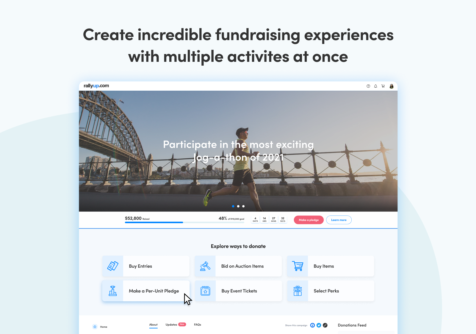 Create incredible fundraising experiences with multiple activities at once