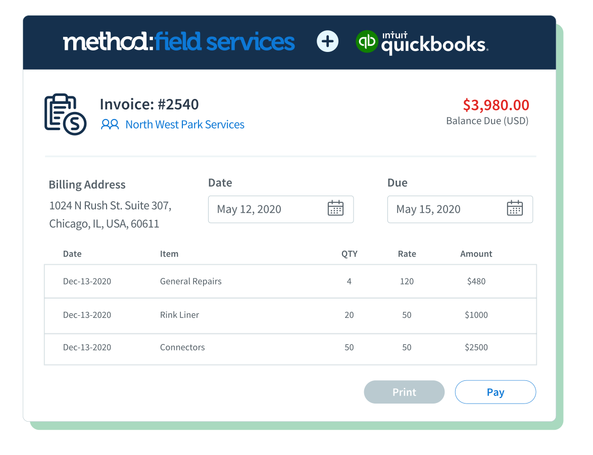 Invoices are automatically synced to QuickBooks, which saves you time from double data entry