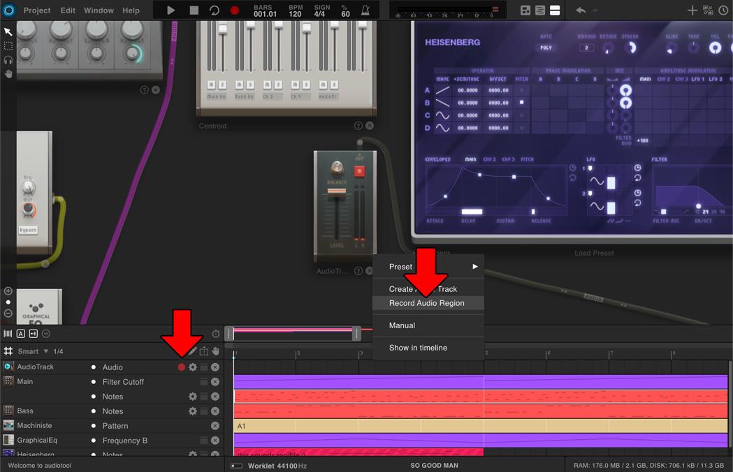 Audiotool record audio