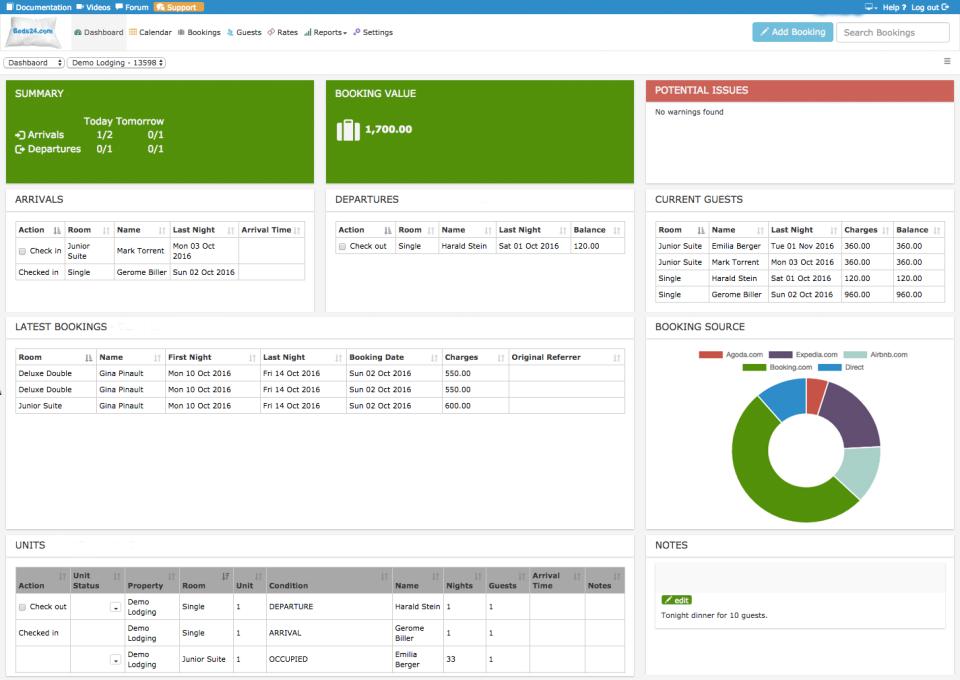 Beds24 Software - Beds24 dashboard