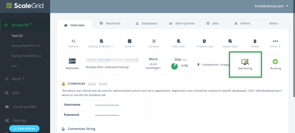 Manage and monitor MongoDB clusters within ScaleGrid