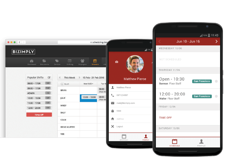 Drag and drop shifts and share schedules straight to the staff's smartphones