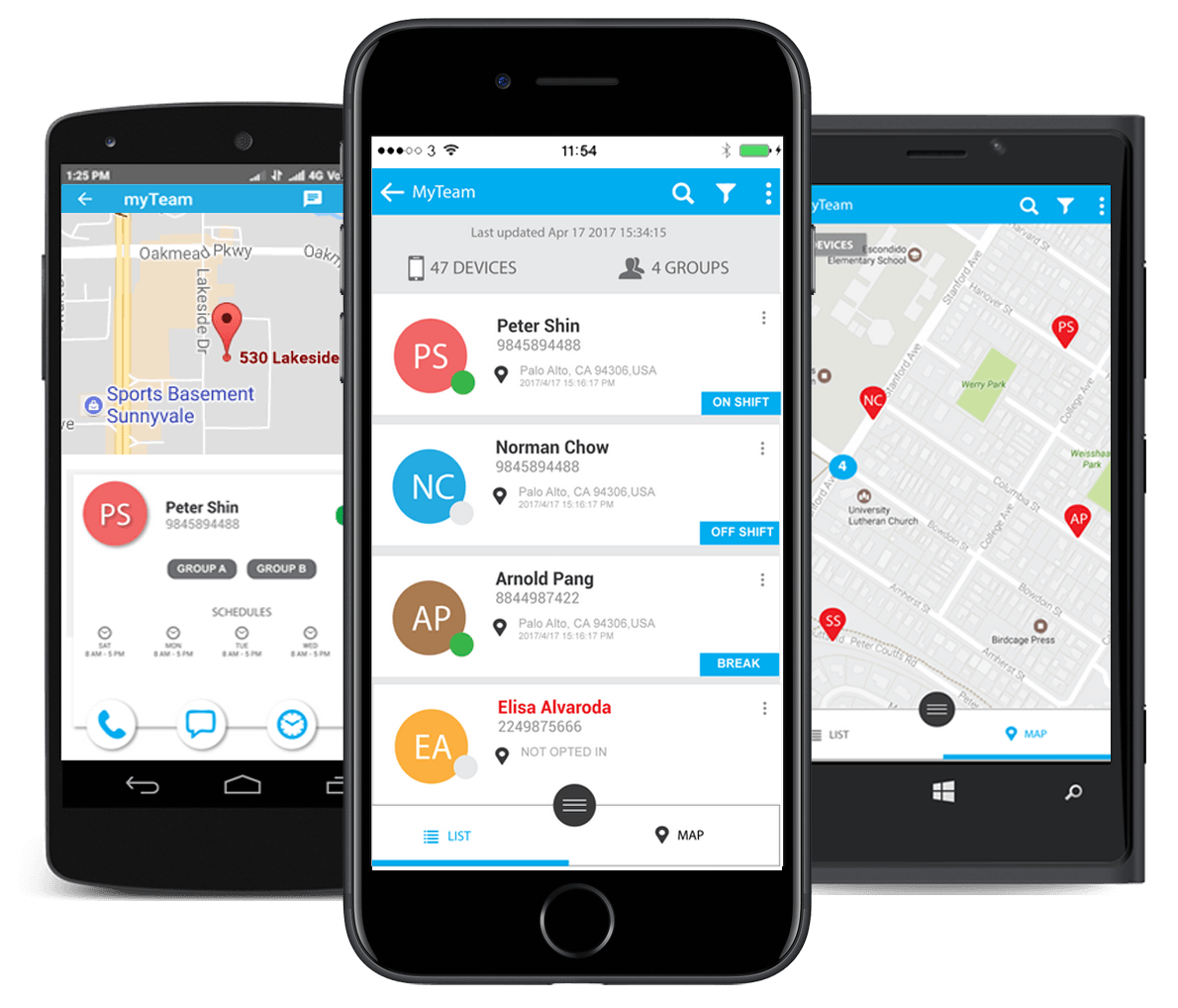 The myGeoTracking applications for Android and iOS allow device GPS tracking