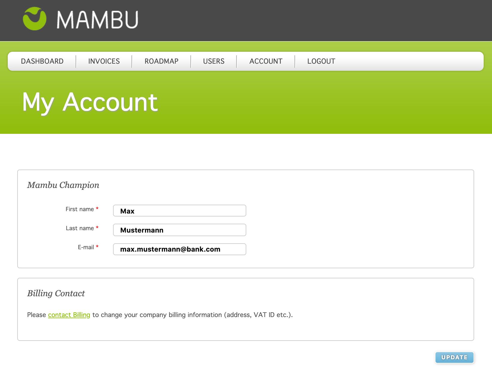 Mambu Software - Mambu my account