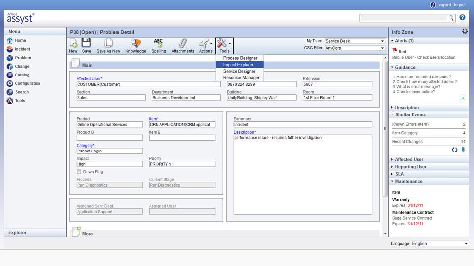 Assyst System Software - Problem detail