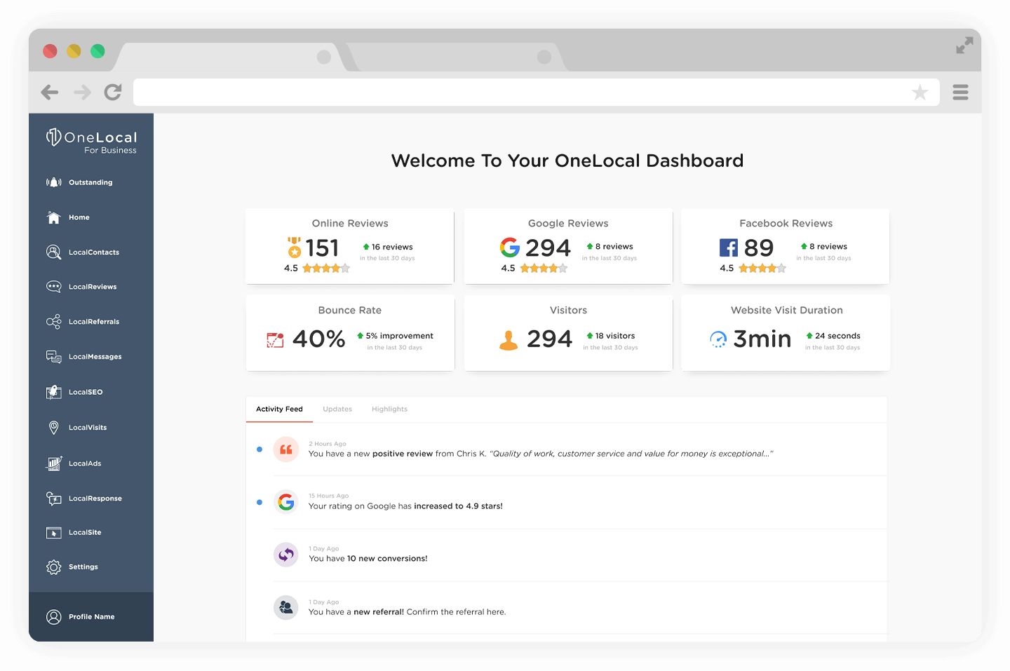 LocalSEO Software - Manage all your marketing needs from one dashboard. Attract, convert, and nurture clients with a full set of marketing tools from OneLocal