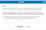 SalesBinder screenshot: SalesBinder add notes