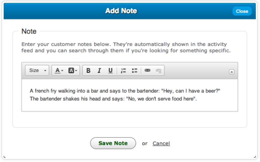 SalesBinder add notes