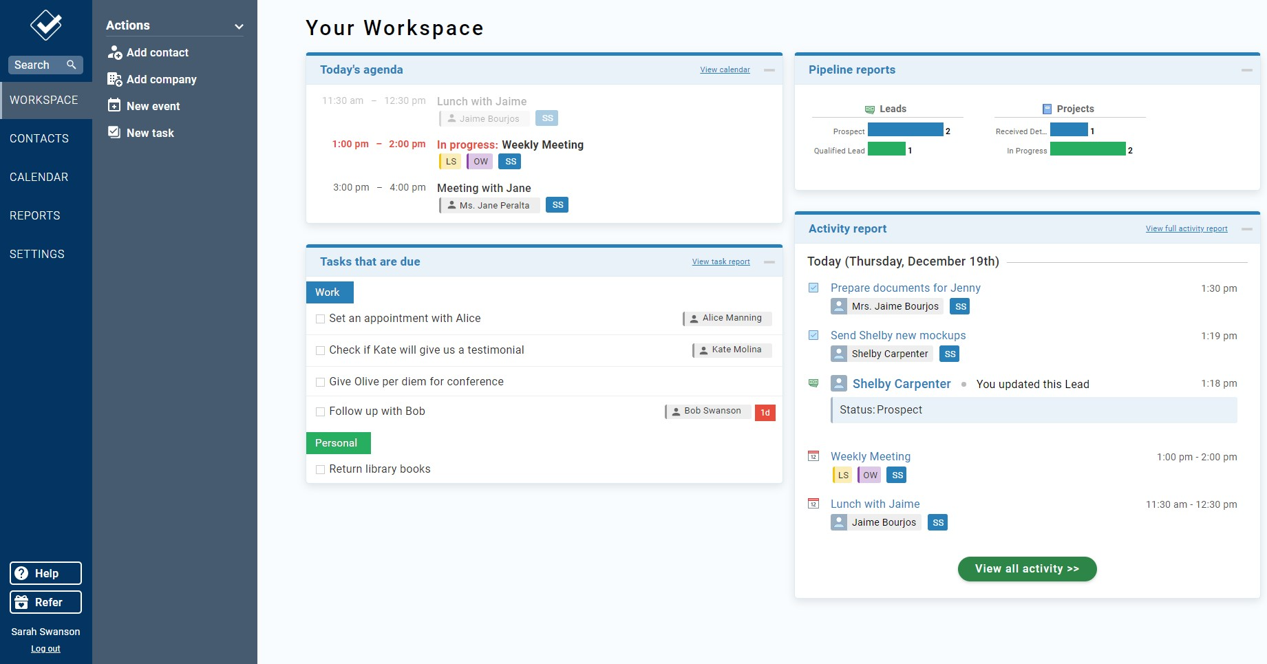 Your Workspace is your homepage for your CRM. It gives you a quick overview of everything that's going on.