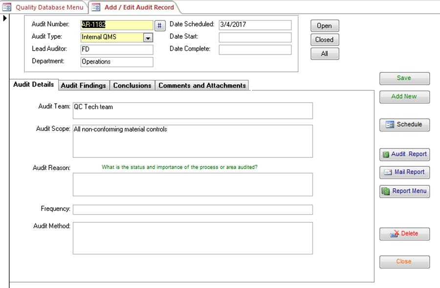 SBS Quality Database Software - Add/edit audit record