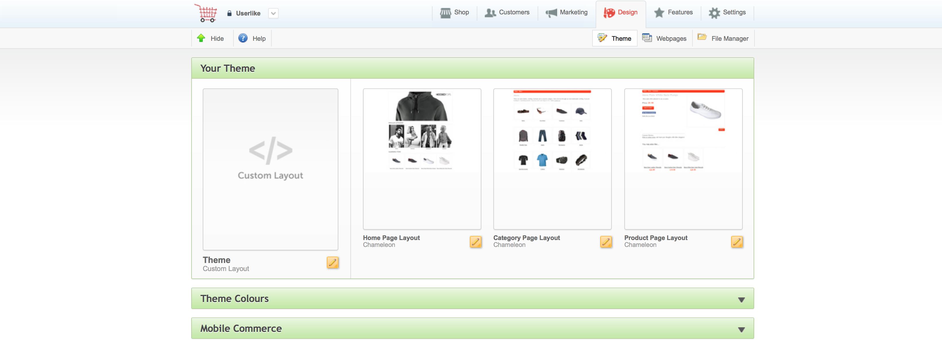 ekmPowershop screenshot: Design your online shop with ekmPowershop's drag and drop interface