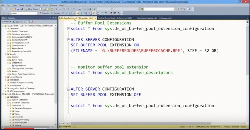 Microsoft SQL Server buffer pool extensions