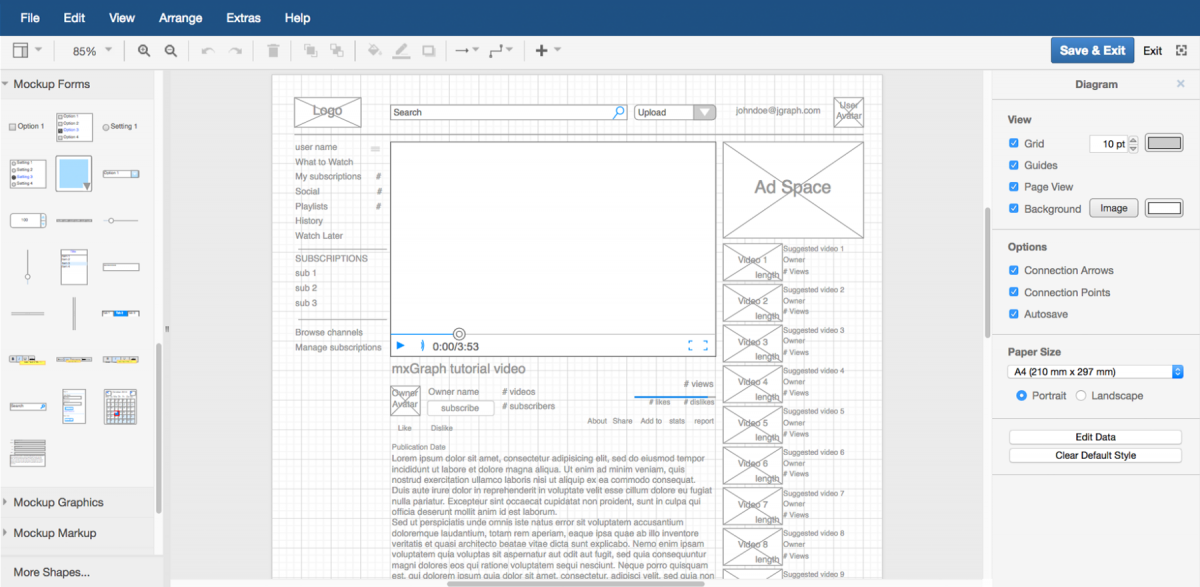 Use wireframe models, also known as page schematics, to plan the layout of websites or user interfaces