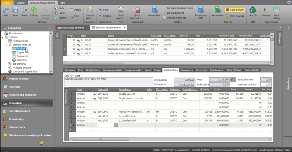 The estimation page lets users manage cost analysis, measurements, maintenance, notes and more