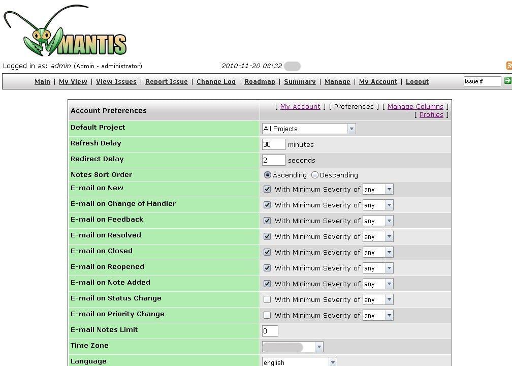 MantisBT Software - Account preferences