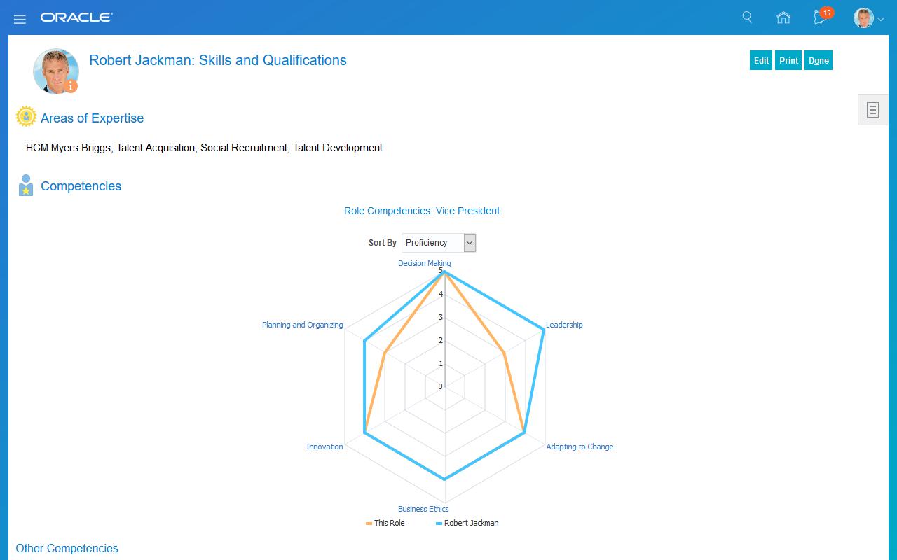 Oracle Cloud HCM Software - Talent profile