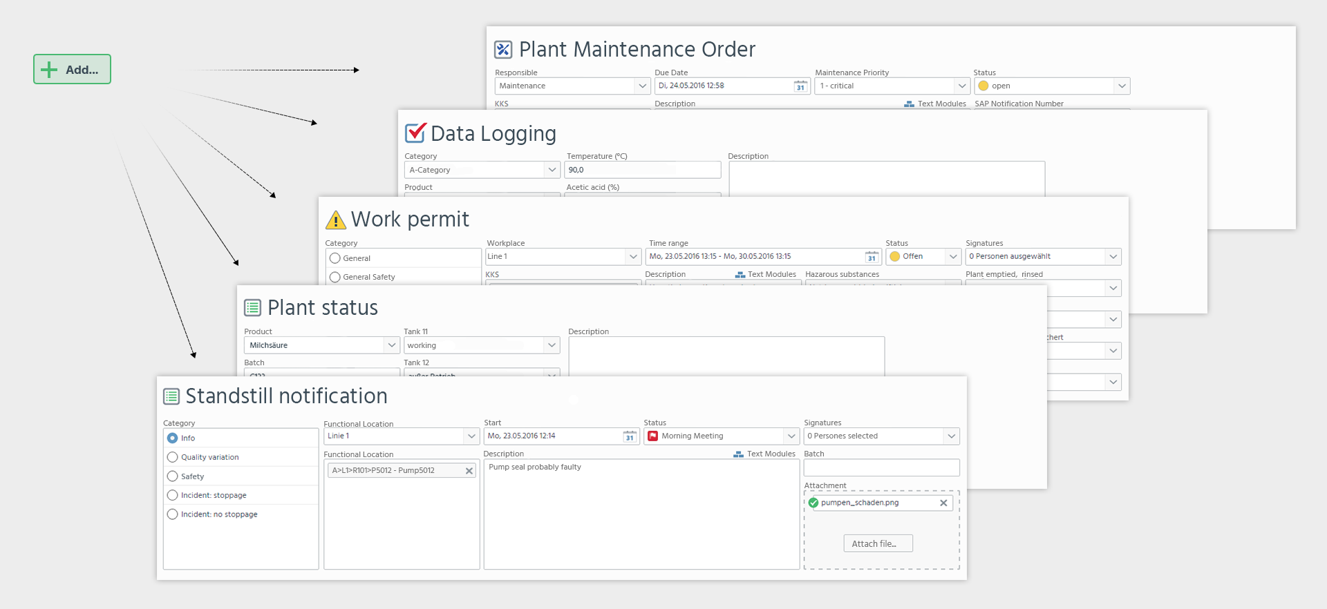 With the form designer, forms can be customized for all processes and defined with plausibility checks