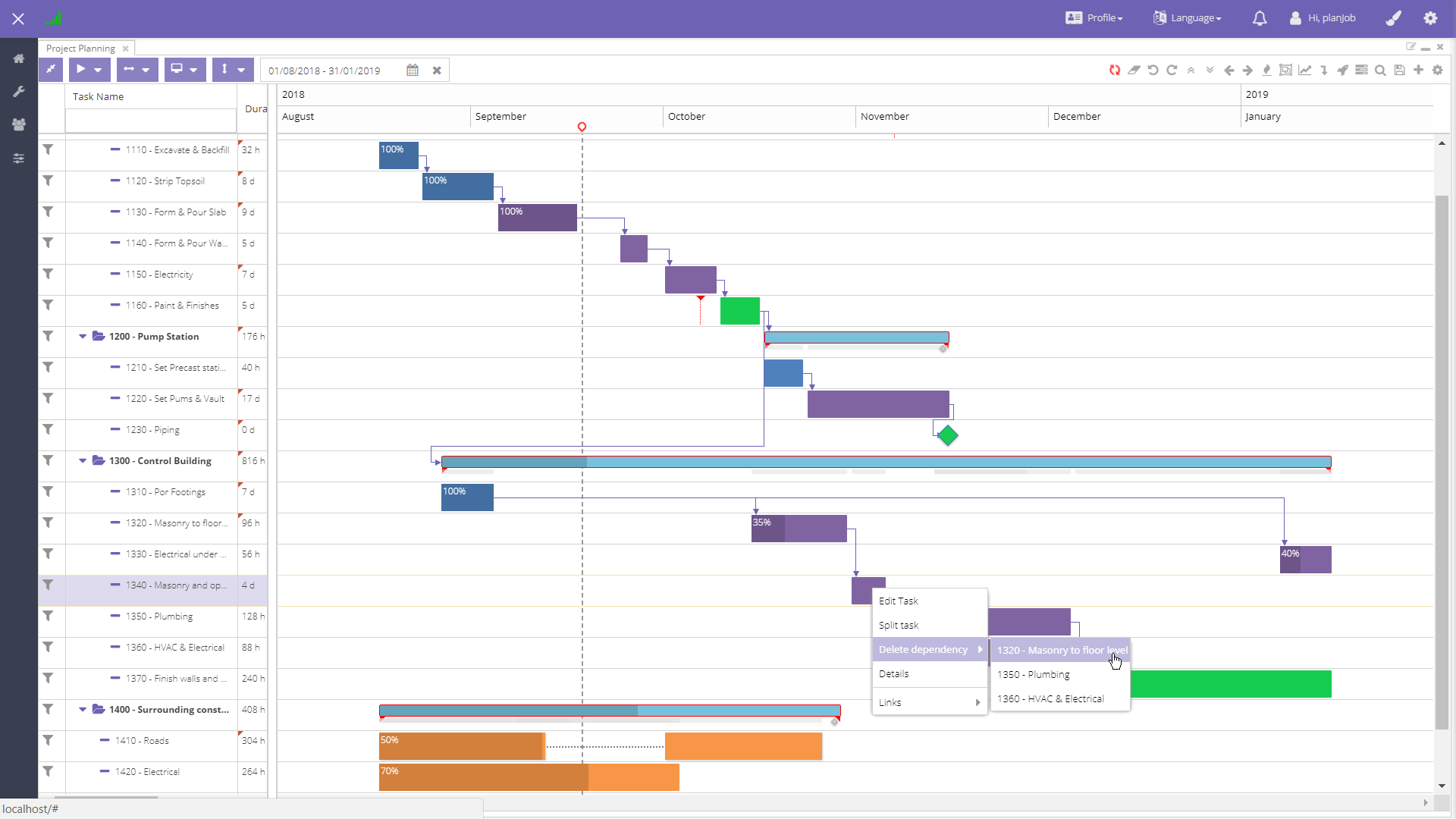 The Gantt chart allows you to define milestones, dependencies, constraints, and much more.
