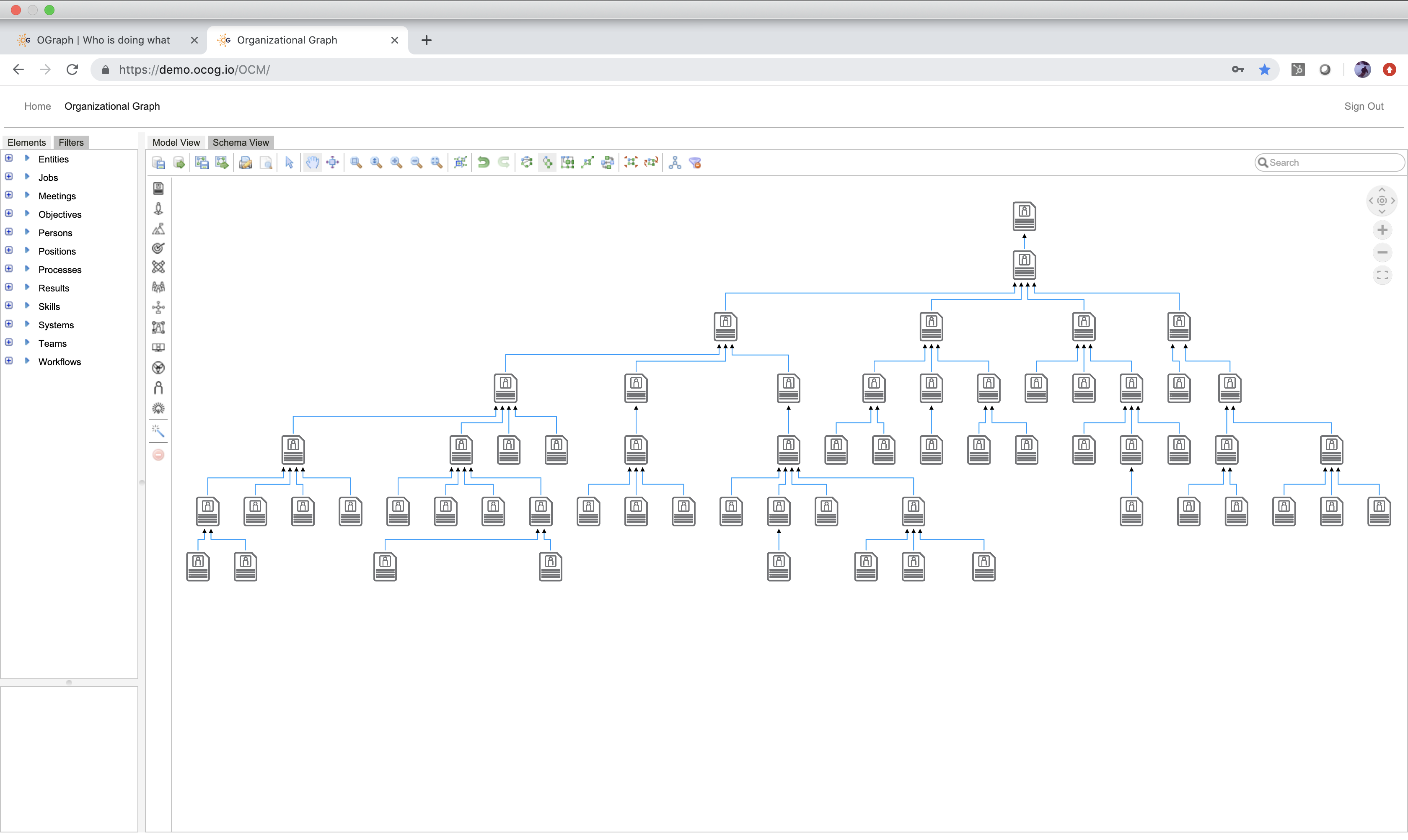 View a normal hierarchical org chart