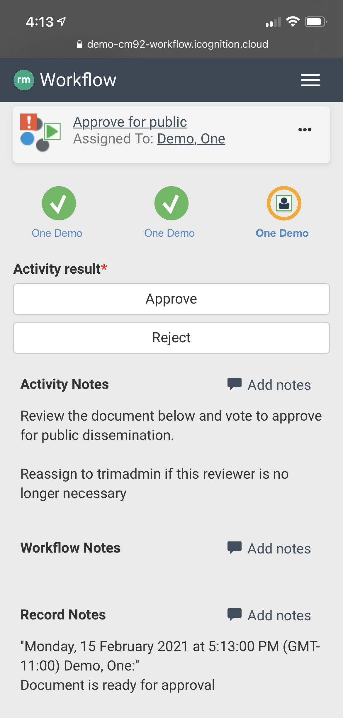 iCognition's RM Workflow is a mobile friendly application that not only allows you to search for records, review, and approve workflows from your mobile phone, but with Office365 you can even edit live Content Manager records wherever you are!