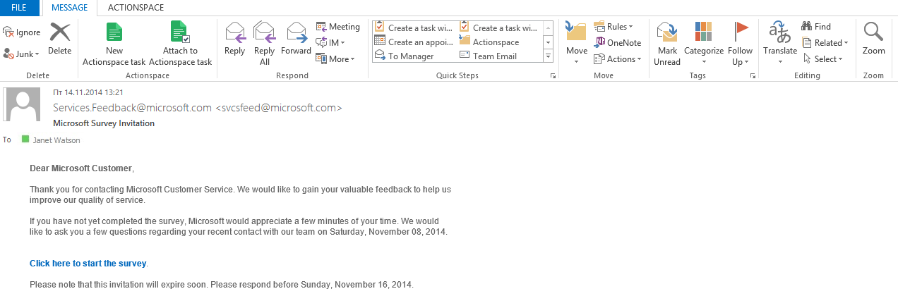 Create Tasks from Outlook
