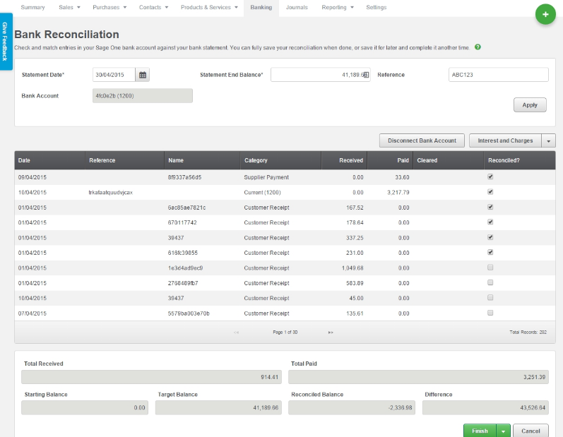 Sage Business Cloud Accounting Software - Bank reconciliation