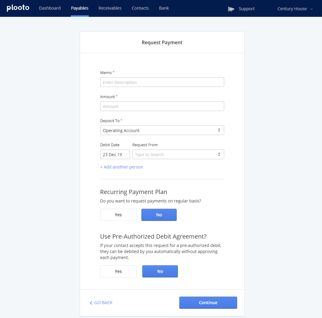 Plooto Request Payment | Manually request payments and enjoy features like recurring payment and PAD