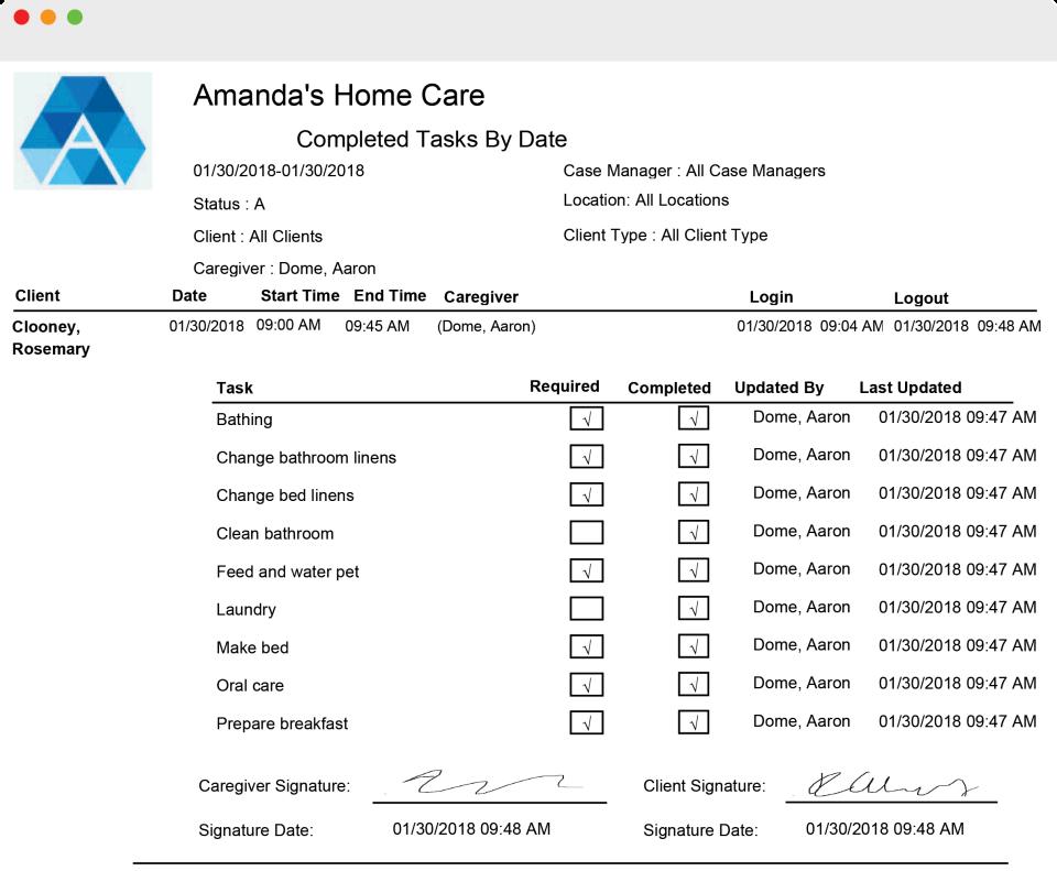 Generations Homecare System receipt screenshot