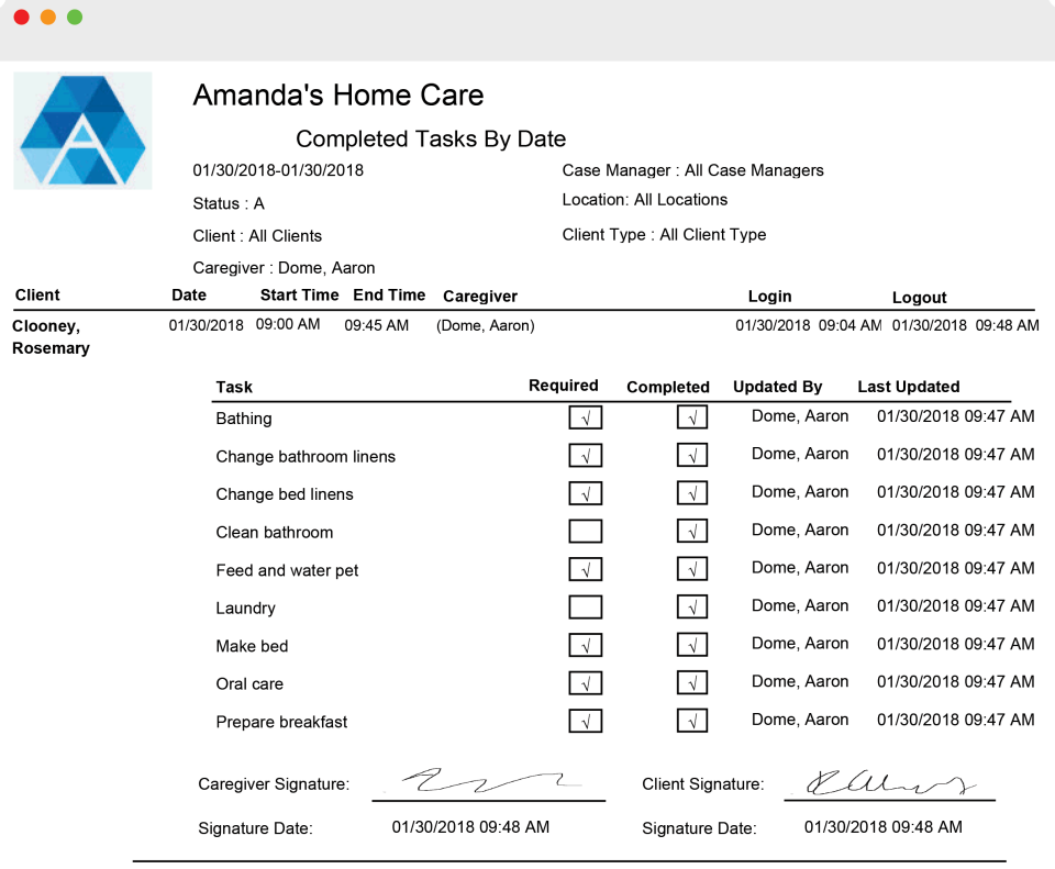 Generations Homecare System screenshot: Generations Homecare System receipt screenshot