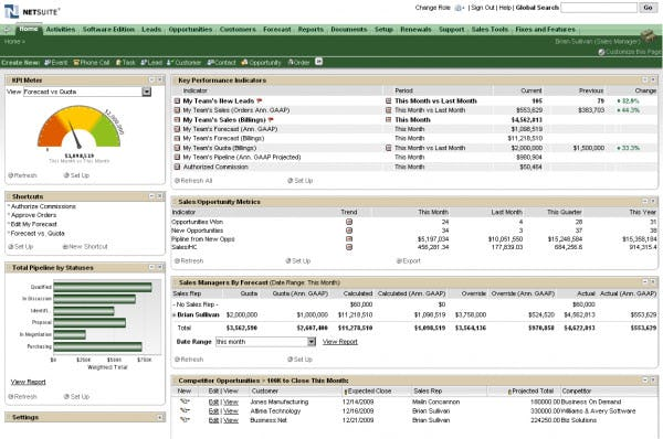 NetSuite CRM Software - CRM dashboard
